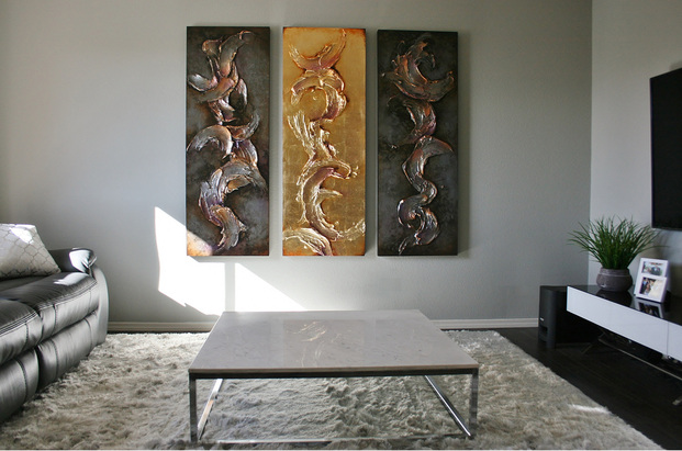 Sculptural Paintings Gold Leaf Silver Leaf Art Large Scale Classy Elegant Texas Santa Fe Dallas