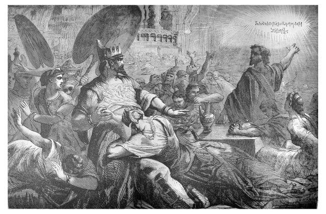 Daniel confronts Belshazzar at his feast