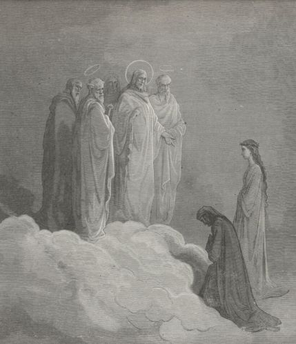 Man bowing before Christ in heaven