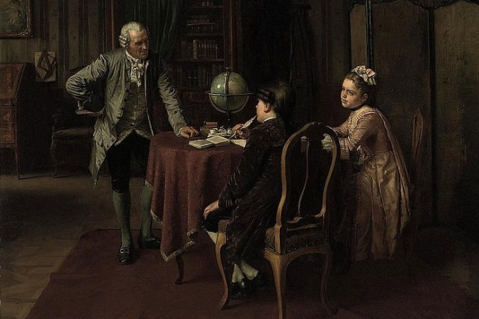Enlightenment era family in a discussion
