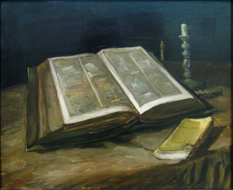 Painting of an open Bible on a table