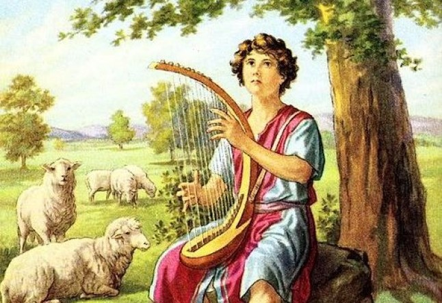 Young David tending sheep and holding a harp