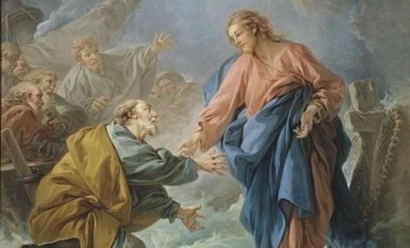 Jesus reaching toward Peter