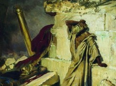 Painting of Jeremiah standing by the ruined temple