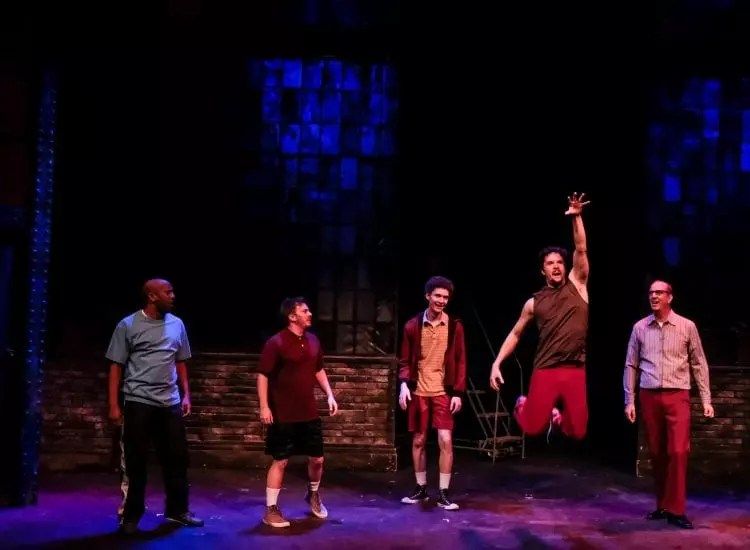 "Ron Christopher Jones, Jonathan Sangster, Jack Eld, Steven Freitas, and Richard Van Slyke in ""The Full Monty"" (Ken Jacques)"