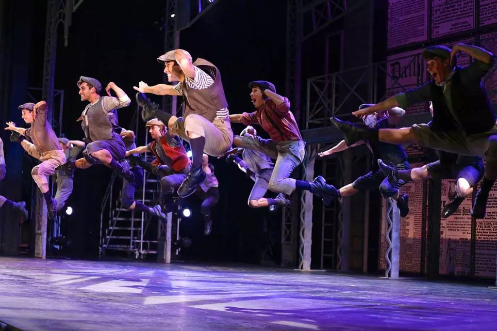 The ensemble cast of Moonlight Stage Productions NEWSIES in San Diego