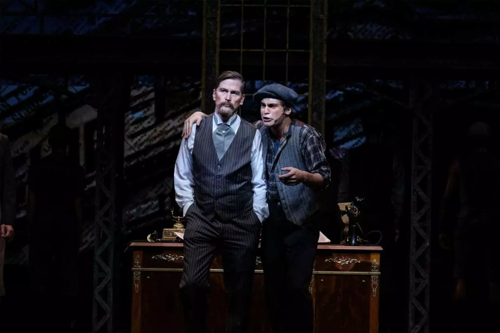 Actor Hank Stratton and Dillon Klena in the Moonlight Stage Productions of NEWSIES in San Diego