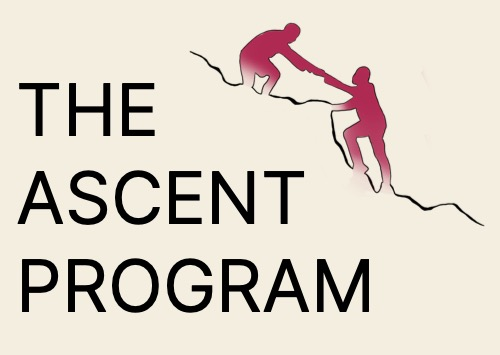 """A logo with text on the left side saying """"The Ascent Program"""" on the right side it appears as if there is an outline of one side of a mountain going up the side of the staggered text edge. There are two fuschia colored figures on the mountain - one is pulling the other upwards."""