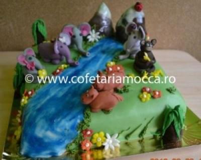 Tort pentru copii oradea  cal, elefant, hipopotan, figurine jungla(76)