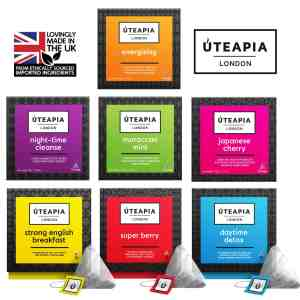 uteapia 7 pack energising night time cleanse moroccan mint japanese cherry strong english breakfast super berry daytime detox