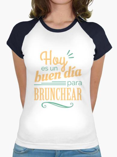 """Camiseta mujer brunch lover """"Hoy es un buen día para brunchear"""" - color sobre blanco"""