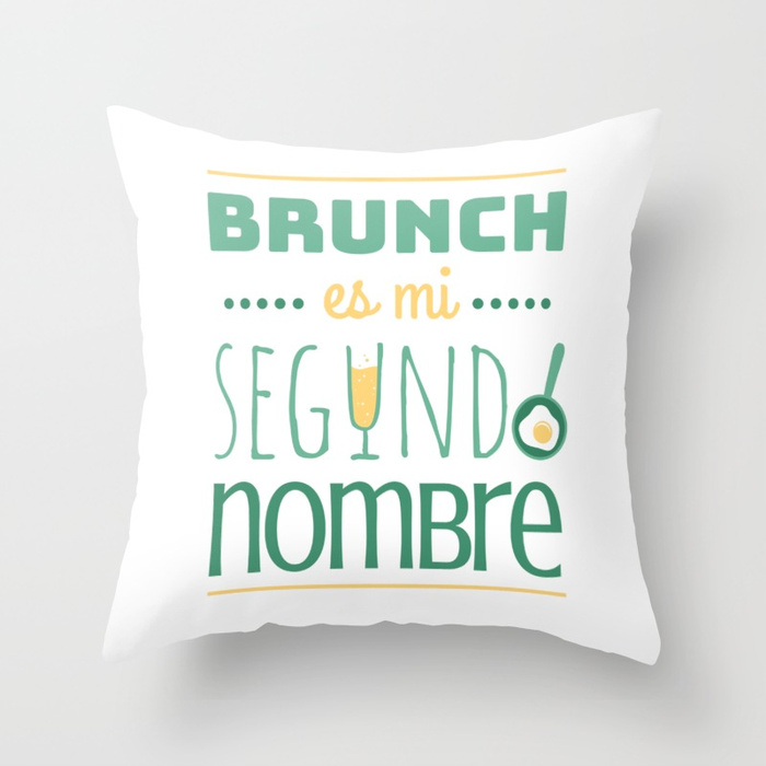 Cojín regalo para brunch lover - Brunch es mi segundo nombre - Blanco y color