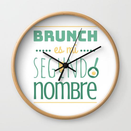 Reloj pared regalo para brunch lover - Brunch es mi segundo nombre - Blanco y color