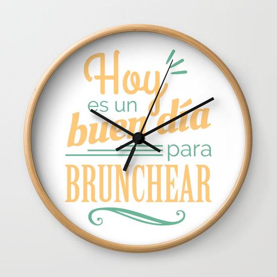 Reloj pared regalo para brunch lover - Hoy es un buen día para brunchear - Blanco y color
