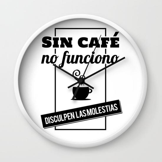 Reloj pared regalo para brunch lover - Sin café no funciono, disculpen las molestias - Blanco y negro