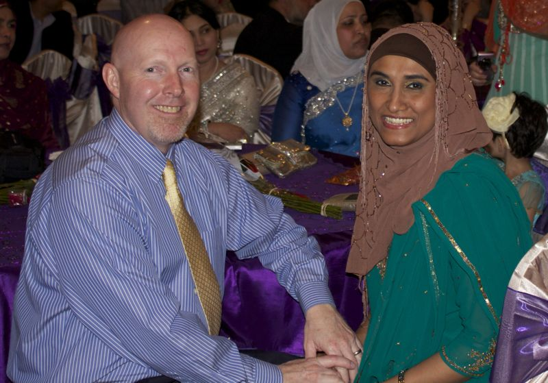 My husband and me at the wedding reception