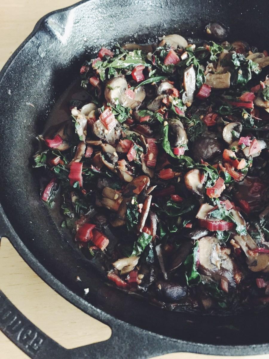 Sauteed red chard and mushrooms