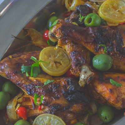 Baked Chicken with Preserved Lemons and Olives
