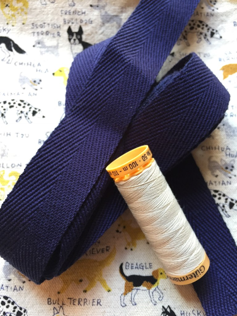 Dog Fabric Tote Bag - Blue Webbing and Thread