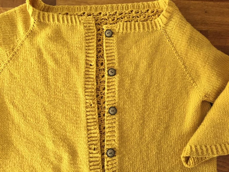 Yellow Cardigan With Wooden Buttons