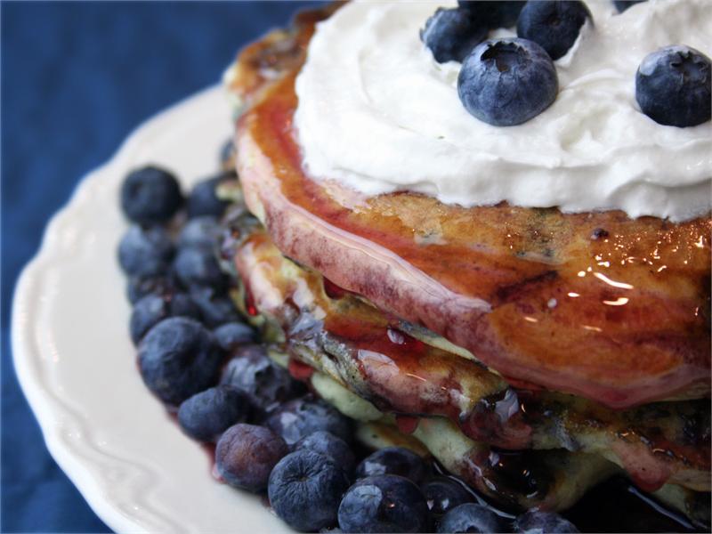 Blueberry Wheat Pancakes