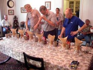 Cupping coffee in Ka'u