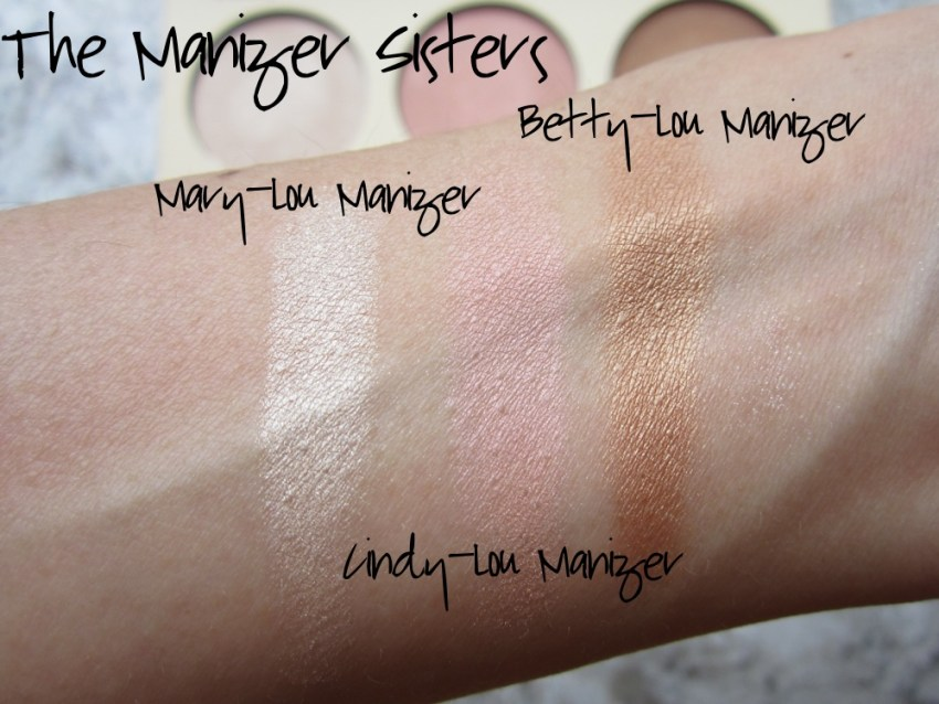 thebalm the manizer sisters mary lou manizer cindy lou manizer betty lou manizer swatches