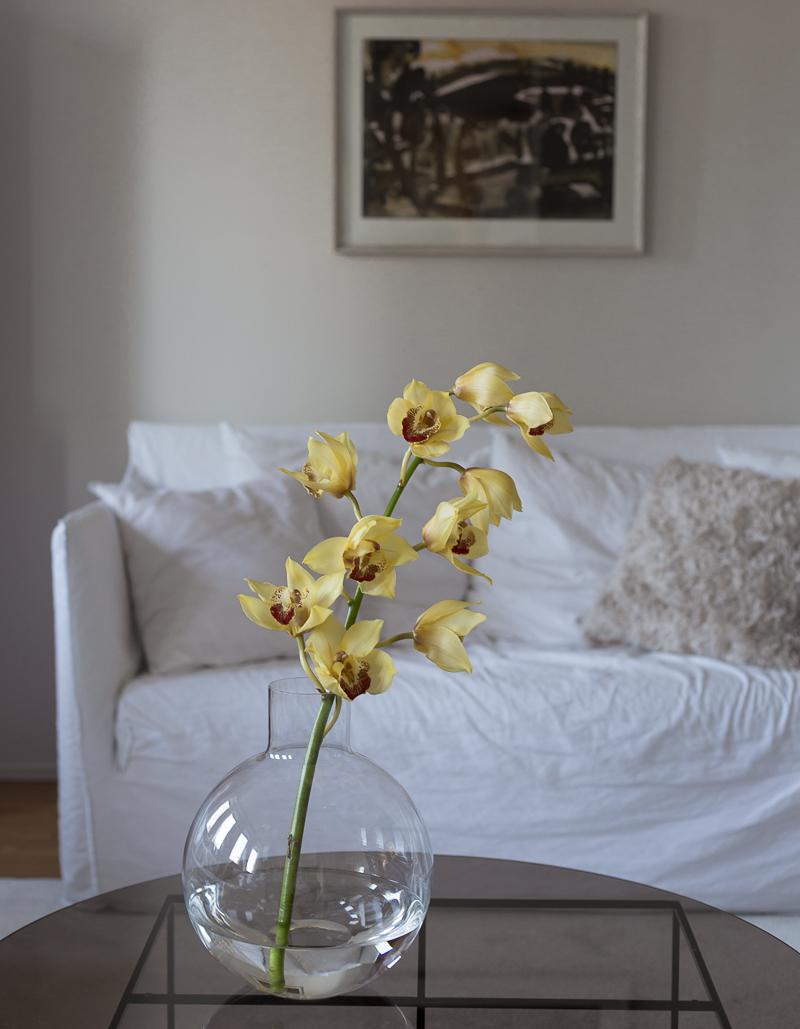 Skruf Pallo vas, orkidea maljakossa, Marimekko Furry tyyny, Coffee Table Diary olohuone
