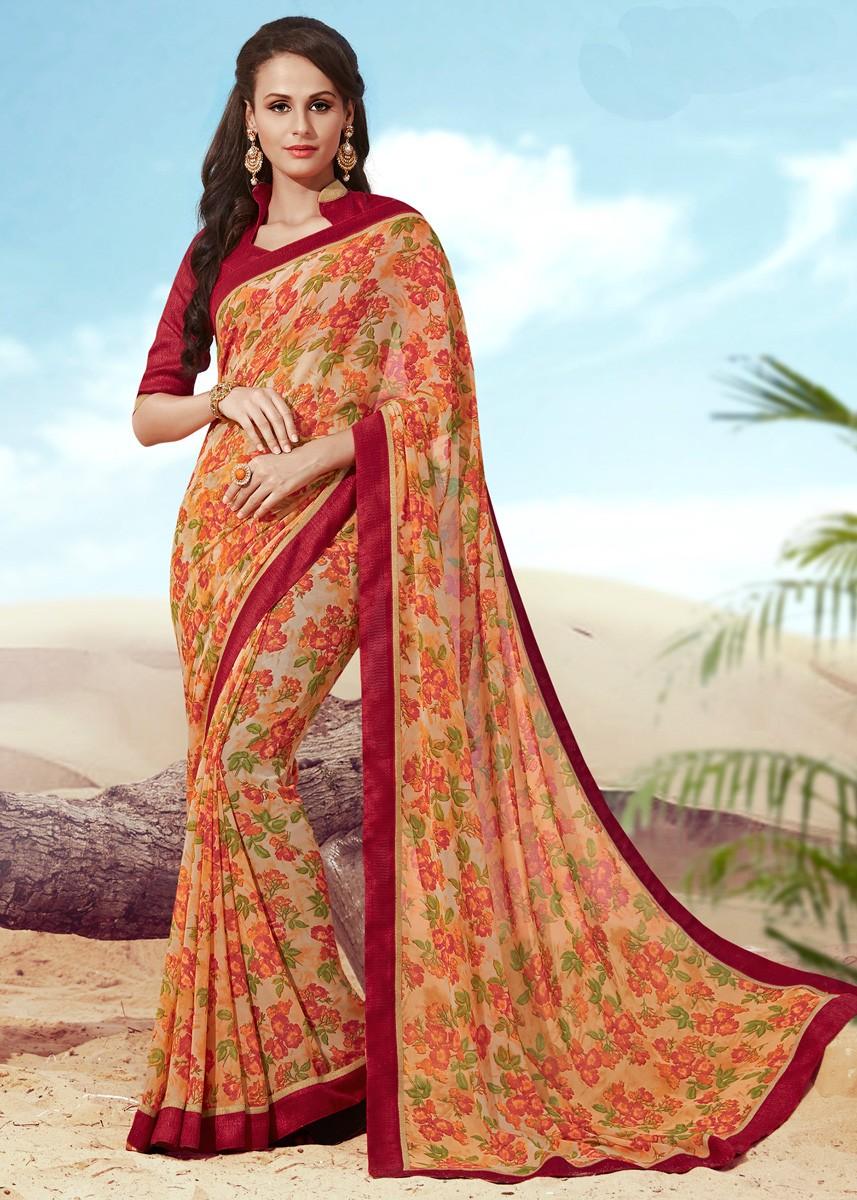 causal-printed-saree-online-Indiarush.com
