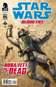 "The cover to ""Star Wars: Blood Ties"" featuring Boba Fett, dead, apparently. (Image courtesy of Dark Horse Comics)"