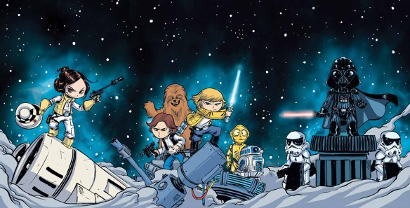 """""""Star Wars"""" No. 1 variant cover illustrated by Skottie Young. (Image courtesy of Marvel Entertainment)"""