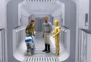 R2D2 and C3PO with Kanan and Bail Organa