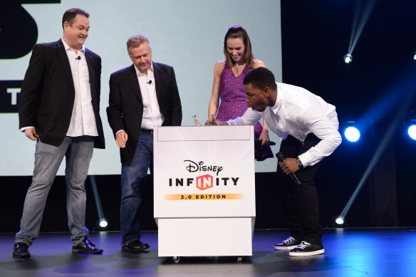 Disney Infinity executives John Blackburn and John Vignocchi invited co-stars John Boyega and Daisy Ridley of Star Wars™ The Force Awakens on stage for surprise appearance at the unveiling of their Disney Infinity 3.0 characters during the video games presentation on Sunday April 16 at D23 Expo.