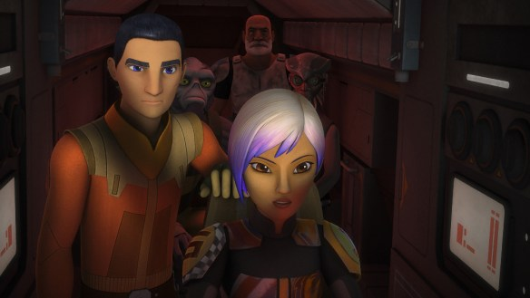 "STAR WARS REBELS - ""Steps into Shadow"" - The critically-acclaimed animated series ""Star Wars Rebels"" returns SATURDAY, SEPTEMBER 24 (8:30 p.m., ET) and introduces new characters Grand Admiral Thrawn and Bendu during the season three one-hour premiere event, ""Steps into Shadow"" on Disney XD. (Lucasfilm) EZRA, SABINE"