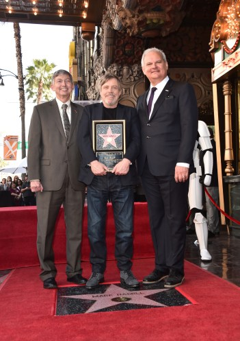 HOLLYWOOD, CA - MARCH 08: (L-R) Hollywood Chamber of Commerce President and CEO, Leron Gubler, Mark Hamill, and Hollywood Chamber of Commerce Chair of the Board Jeff Zarrinnam at Mark Hamill Star Ceremony on the Hollywood Walk of Fame on March 8, 2018 at Hollywood Walk Of Fame in Hollywood, California. (Photo by Alberto E. Rodriguez/Getty Images for Disney) *** Local Caption *** Leron Gubler; Mark Hamill; Jeff Zarrinnam