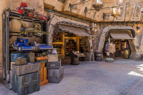 Guests visiting Star Wars: Galaxy's Edge at Disneyland Park in Anaheim, California, and at Disney's Hollywood Studios in Lake Buena Vista, Florida, will be able to wander the lively marketplace of Black Spire Outpost and encounter a robust collection of merchant shops and stalls filled with authentic Star Wars creations. (Joshua Sudock/Disney Parks)