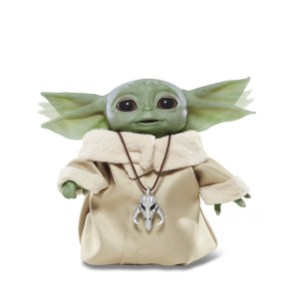 """STAR WARS THE CHILD ANIMATRONIC EDITION Toy (HASBRO/Ages 4 years & up/Approx. Retail Price: $59.99/Available: Fall 2020) From HASBRO'S STAR WARS Collection comes THE CHILD ANIMATRONIC EDITION toy with sounds and motorized sequences! He may look like """"BABY YODA,"""" but this lovable creature is called THE CHILD – and now you can become his protector with this animatronic toy from STAR WARS. Touching the top of THE CHILD'S head activates over 25 sound and motion combinations, including happy and excited sounds, giggles, babbles, and more, all while the toy's head moves up and down, ears move back and forth, and eyes open and close. Boys and girls can pretend to harness the power of the Force as THE CHILD toy closes its eyes, raises its arm, and sighs as if exerting a great amount of energy. Lay THE CHILD toy down and it will close its eyes and take a """"Force nap."""" Includes figure and Mandalorian pendant. Requires 2 AAA batteries, included. Available at most major retailers."""