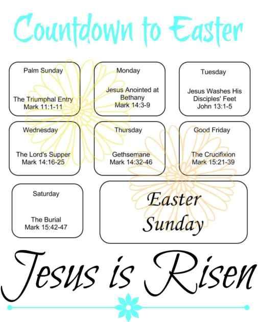 Free Printable Countdown to Easter