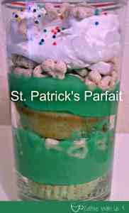 St. Patrick's Day Parfait by CoffeeWithUs3 / Cake, Yogurt & Lucky Charms Layered! #dessert #stpatrickday