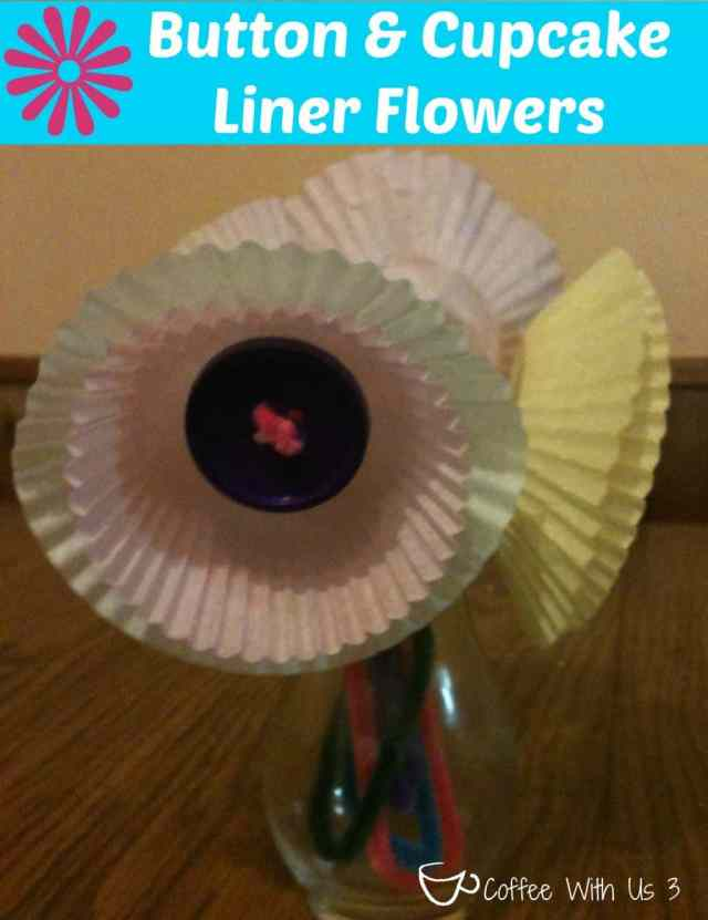 Button & Cupcake Liner Flowers from Coffee With Us 3 / perfect kiddo craft for Mother's Day #craft #kids