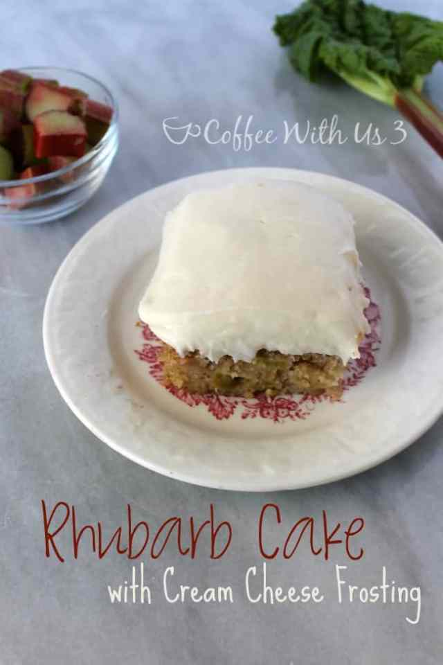 Rhubarb Cake with Cream Cheese Frosting | Coffee With Us 3 - Have you ever had rhubarb cake? It's so delicious, you've got to try this recipe!