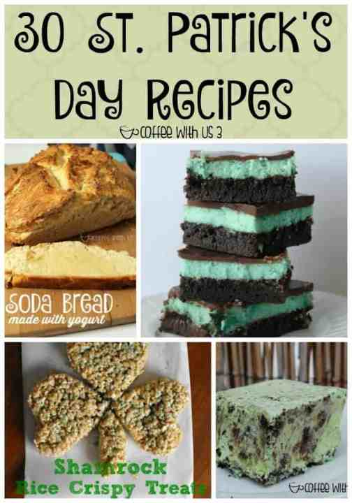 30 St. Patricks Day Recipes perfect for any type of St. Patrick's Day celebration! Corned Beef, Soda Bread, & fun desserts, there are sure to recipes for everyone!