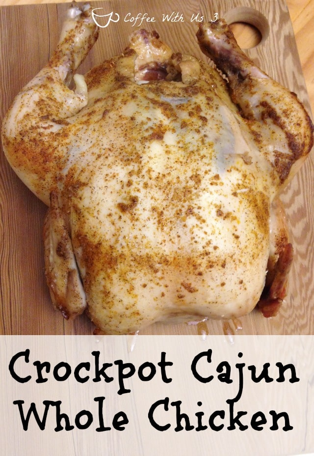 Get the Cajun flavor in this easy recipe for Whole Chicken in your crockpot!!