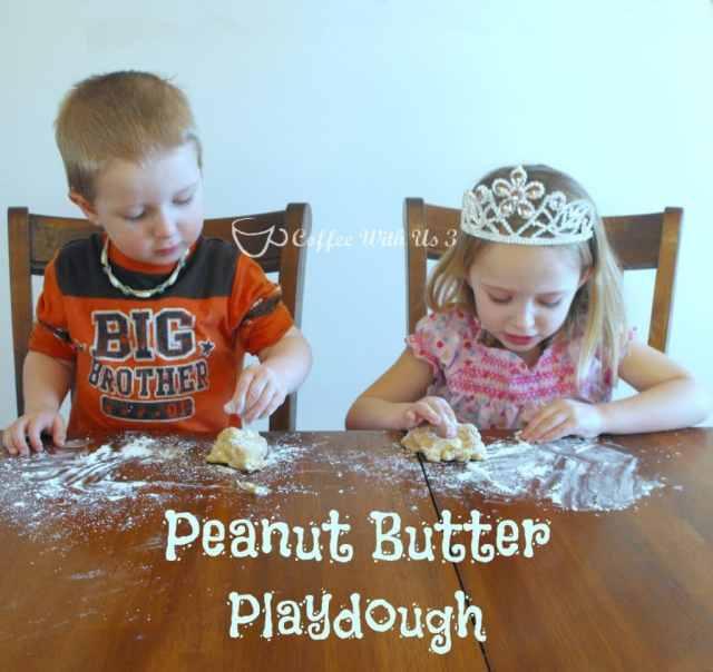 Peanut Butter Playdough is a fun and edible kids' activity! #preschool