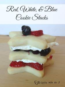 red, white, blue cookie stacks