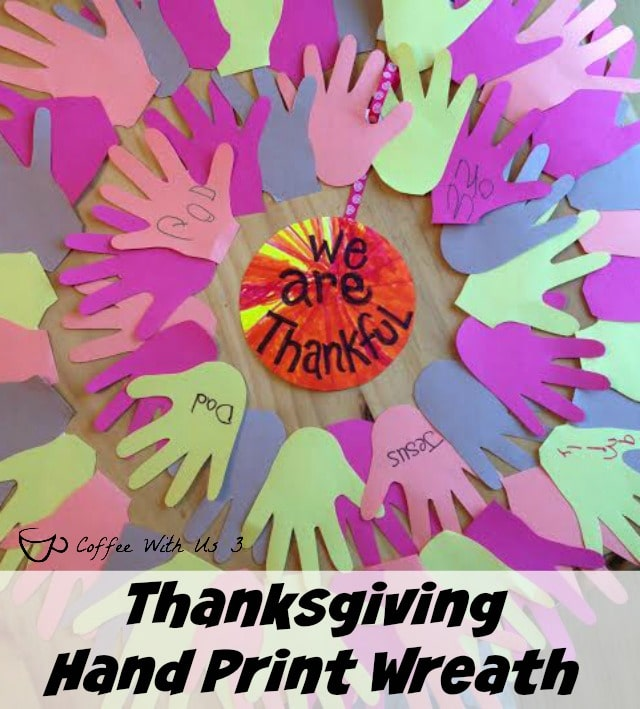 """Looking for something other than the """"Thanksgiving Tree"""" to do with your kids this November?  Try this fun. colorful hand print """"We are Thankful"""" Wreath."""