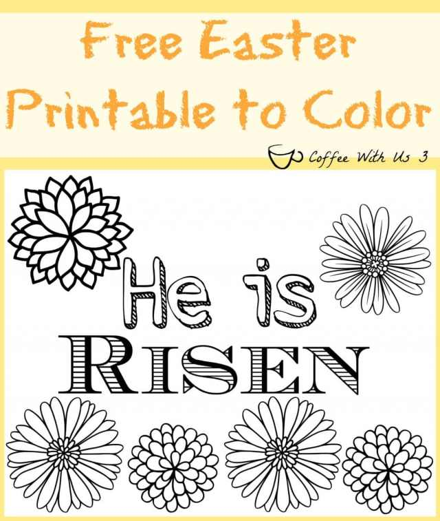 2 Free Easter Printables to Color | Are you looking for Easter activities for your children for Easter?  Check out these 2 coloring page: He is Risen & Happy Easter. Plus check out some of our other favorite Easter activities & recipes. Click through & print yours now.