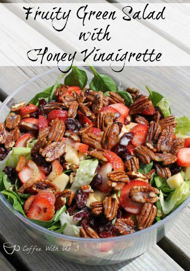 Fruity Green Salad with Honey Vinaigrette full of strawberries, cranberries, apples, pecans
