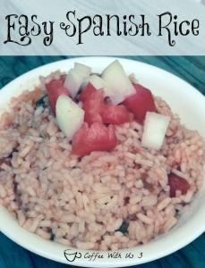 Easy Spanish Rice is made with minute rice. So not only is it a tasty side dish; it's also super fast & easy!