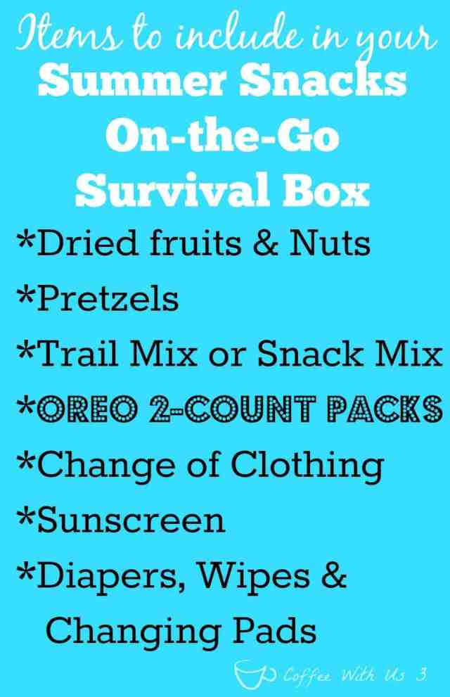 What to include in your Summer Snacks On-the-Go Survival Box